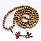 qzoxx Tibetan Buddhist 108 Sandalwood Beads Prayer Necklace Meditation Mala