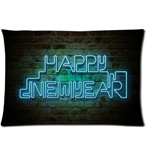 Christmas Gift Zippered Flannel 18-by-18 inches One Side 2015 Happy New Year style pillowcase history year by year