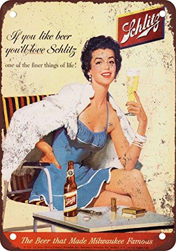 Schlitz Beer Vintage Look Reproduction Metal Sign (Schlitz Beer compare prices)