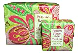 Bundle of 2 Greenwich Bay Trading Co. Soaps - 10.5oz Bath Soap Bar and Matching 1.9oz Hand Soap Bar (Passion Flower and Olive Oil)