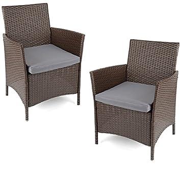 Brand New Christow sedie da giardino in rattan marrone party balcone sedie 2sedia set out