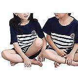 (マーシェル) Marshel キッズ ルームウェア パジャマ 半袖 夏 親子 デザイン かわいい ぱじゃま 上下2点セット 子供用 リラックス ホワイトXネイビー 100