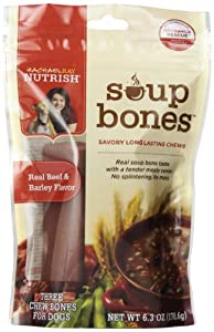 Rachael Ray Nutrish Soup Bones Dog Treats, Beef and Barley Flavor, 3-Count Pkg, 6.3-Ounce, Pack of 8