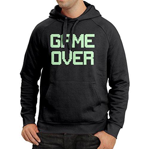 Felpa con cappuccio Game Over regali gamer divertenti (XXX-Large Nero Fluorescente)