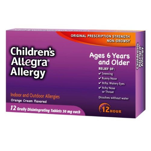 Allegra Childrens 12 Hour Allergy Relief, Orange Cream Flavored, 12 Tablets