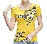 【Wild Cats】 レディース シャツ 半袖 花柄 uネック 綿 tシャツ 大きいサイズ 夏 xl 涼しい トップス ファッション カジュアル おしゃれ 安い エコバッグ付き