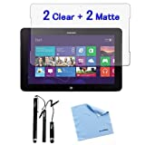 BIRUGEAR 4-Pack Crystal Clear & Anti-Glare Anti-Fingerprint Matte Screen Protector Mix Set plus 3pcs Black Stylus for Samsung ATIV XE500T1C Smart PC 500T / Samsung ATIV XE700T1C Smart PC Pro 700T 11.6-inch Tablet with *Microfiber Cloth*