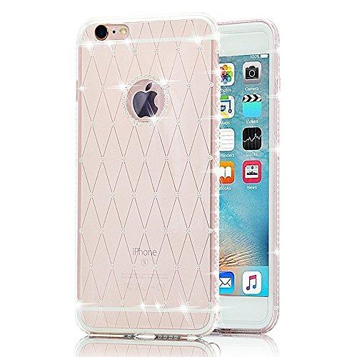 Sunroyal® iphone 6S cover, custodia per Apple iphone SE 5 5S 5G Bling Strass Gliter Diamante Coperture Shell Ultra Sottile Transparent Morbido TPU Gel Silicone Protettiva Case Bumper (Bianca)