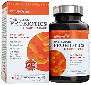 NatureWise Maximum Care Time-Release Probiotics: 30 Strains, 30 Billion CFU, Twice as Many Strains and Probiotics per Caplet as Leading Brands, High Potency, Shelf Stable, Acid Resistant, 40 Caplets