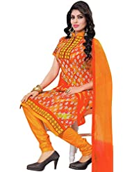 Exotic India Choodidaar Kameez Suit With Printed Bootis And Embroidered Patch