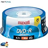 DVD-R 4.7GB Write-Once 16x Recordable Disc Spindle Pack Of 25 And Free 6 Feet Netcna HDMI Cable - By NETCNA