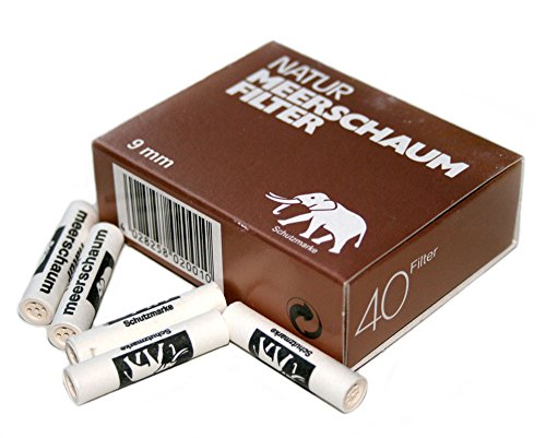 9mm Natur MEERSCHAUM pipe FILTERS made in Germany - 1 box 40 filters