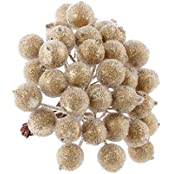Mini Berry Christmas Frosted Artificial Flower Home Decor (5 Bunch 200pcs) - Gold, 12 IN