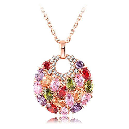 Yellow Chimes Swiss Zircon Rainbow colors Exquisite 16k Rose Gold Plated (Hallmarked) Pendant for women