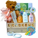 Sweet Baby Bath Sampler Gift Basket with Teddy Bear For Boys or Girls