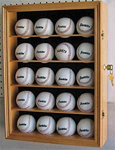 Buy 20 Baseball Display Case Wall Cabinet with Lock, UV Protection Door, Solid Wood B20-OA by DisplayGifts