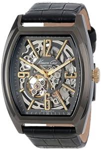 Kenneth Cole New York Men's KC1895 Auto Gunmetal IP Barrel Case Yellow Gold Bezel Watch