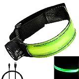 Mudder USB Rechargeable LED Reflective Armband Belt, Green