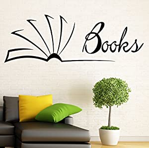 Books wall vinyl decal murals library sticker bedroom art for Best home decor from amazon