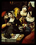 WallsnArt, Figurative Modern Framed Art Work Painting With out glass,Prodigal Son In Courtesans' House, Detail, 18th Century
