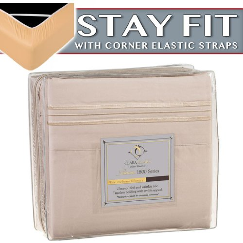Clara Clark 1800 Series Bed Sheet Sets - Stay Fit On Mattress With Elastic Straps At Corners - King, Beige Cream front-943996