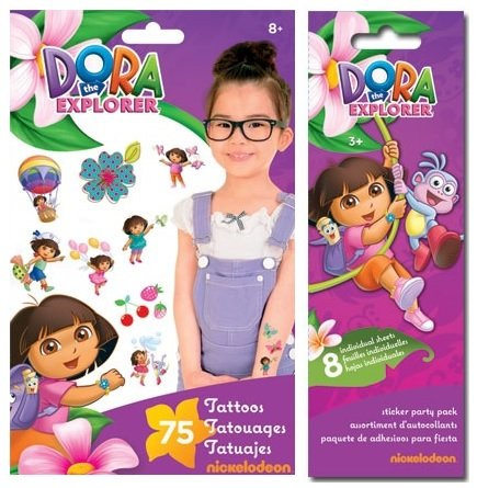 Dora the Explorer Party Favor Pack for 8 Stickers and Tattoos! - 1