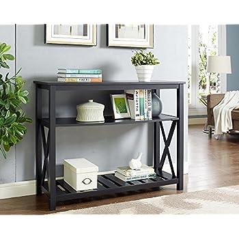 Black Finish 3-Tier Occasional Console Sofa Table Bookshelf X-Design