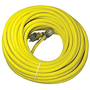 utilitech 100 ft 20 amp 110 volt 10 3 yellow outdoor extension cord amazo. Black Bedroom Furniture Sets. Home Design Ideas