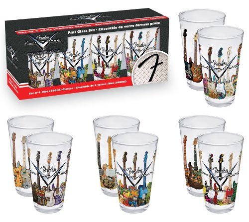 Aquarius Fender Guitars 4 Piece Pint Glass Set