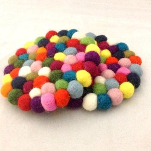 1 Pair Felt Ball Tea and Beverage Coasters - 10cm Genuine Mimosa Hand Felted Multicolour Woollen Round Coaster