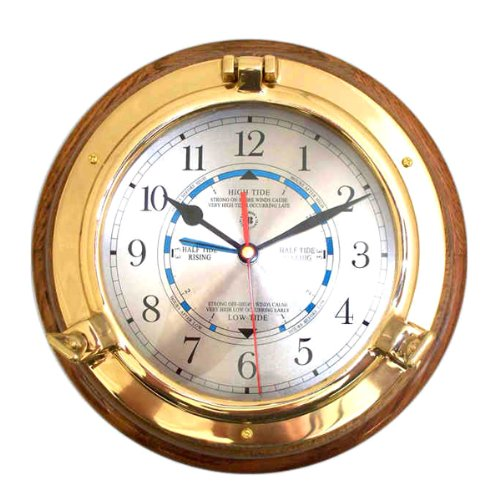 Quartz Tide and Time Wall Clock with Brass Porthole Design on Oak Base