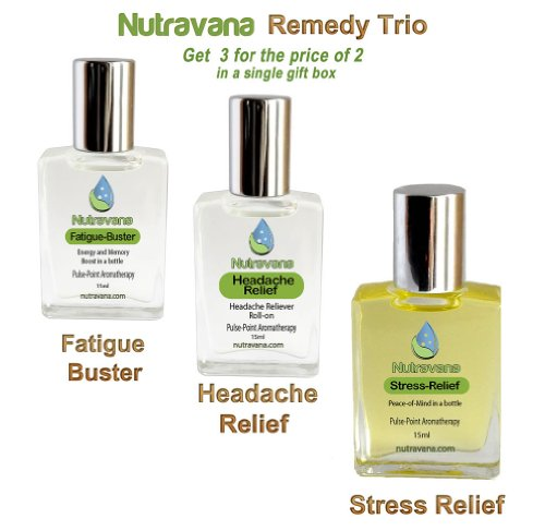 """Remedy Trio Gift Set"" Stress Relief, Headache Relief, And Fatigue Buster. Three All Natural Drug-Free Classic Aromatherapy Herbal Treatments With 10 100% Pure Therapeutic Grade Essential Oils Blended To Best Advantage. A Perfect Gift Set To Help Someone"