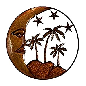sun moon florida palm tree metal wall decor plant stands patio lawn garden. Black Bedroom Furniture Sets. Home Design Ideas