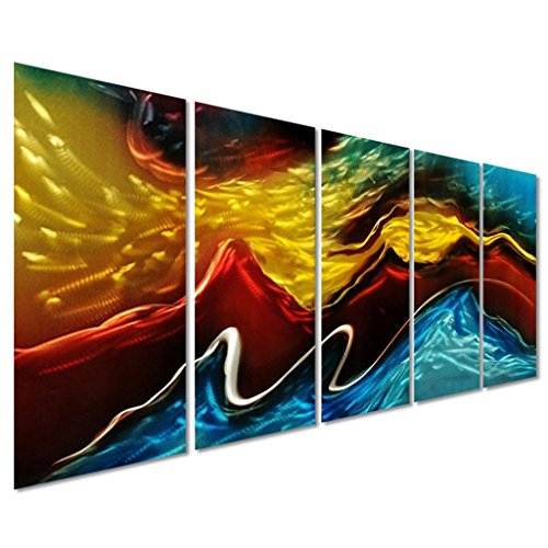 Battle of the Elements Abstract Metal Wall Art Decor - Modern Landscape Set of 5 Panels Large Wall Artwork - Decorative Sculpture for Kitchen and Living Room - 64