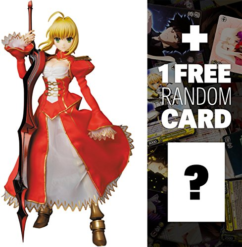 """Red Saber: ~11.8"""" Fate/Extra x Real Action Heroes Figure Series + 1 FREE Official Japanese Fate Project Related Trading Card Bundle"""