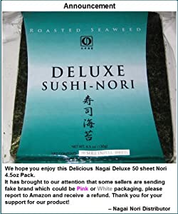 Sushi Nori Seaweed Sheets - 50 Sheets Deluxe Roasted Seaweed - 4.5oz by Nagai Nori