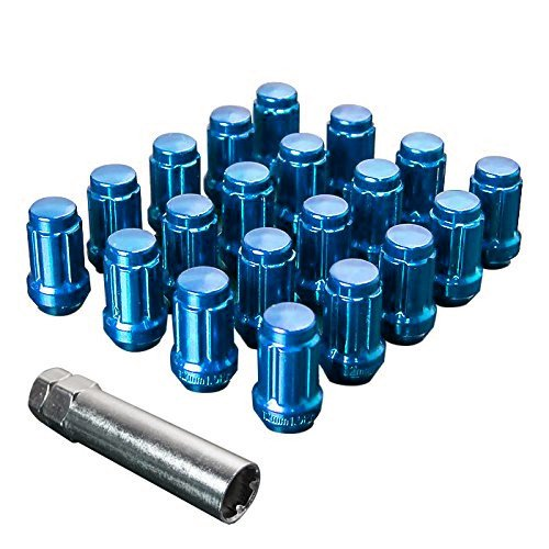 Upgr8 S-series 20 Pieces Steel Closed Ended Wheel Lug Nuts with Key (M12 X 1.5MM, Blue) (Toyota Echo Lug Nuts compare prices)