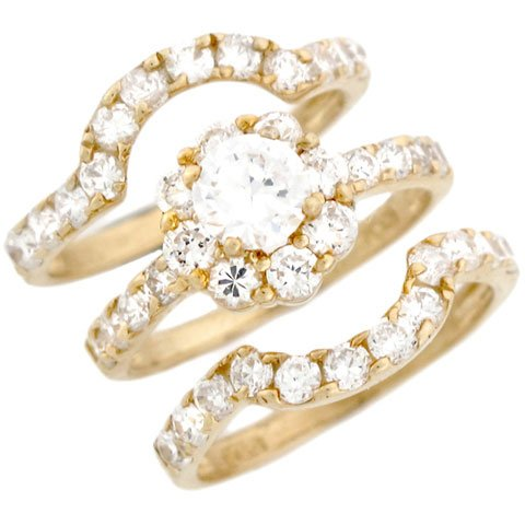10k Yellow Gold Round CZ Flower Stackable Engagement Bridal Ring Set