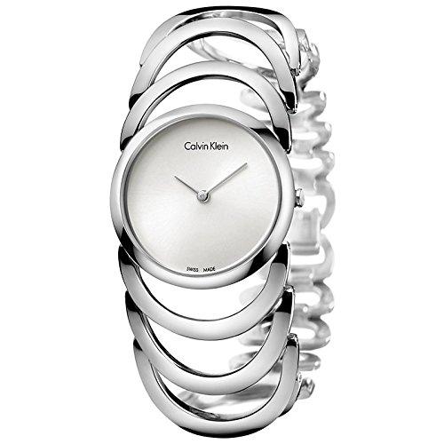 Analógico Calvin Klein cuerpo plateado para mujer reloj K4G23126