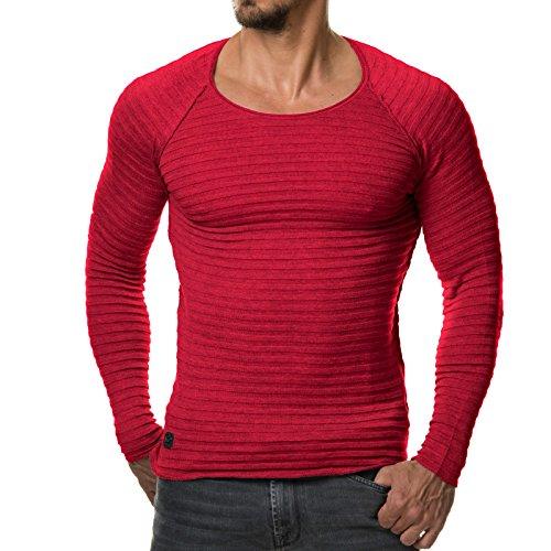Jesse James-Pullover da uomo maglia fine strisce bianco grigio nero 1699 Rot m