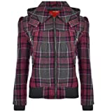 Miss Posh Womens Ladies Hooded Check Bomber Jacket - Pink/Black - 8