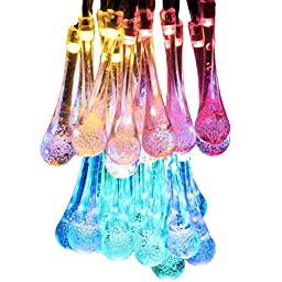 Voilio 30 LED Icicle Solar String Lights, 21.3-Feet(6.5m), Multi-color (RGB)