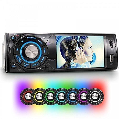 XOMAX-XM-VRSU313BT-Autoradio-Moniceiver-mit-4-Zoll-10-cm-Video-Farb-Bildschirm-7-LED-Beleuchtungsfarben-einstellbar-blau-trkis-grn-gelb-rot-lila-wei-Audio-und-Videowiedergabe-ber-USB-Anschluss-Micro-S