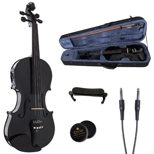 cecilio 4 4 cvnae black sr ebony fitted acoustic electric violin in metallic black instruments. Black Bedroom Furniture Sets. Home Design Ideas