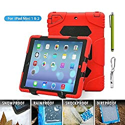 iPad mini case,ACEGUARDER [kid proof Rainproof dirtproof shockproof ]Silicone Hard Case with Kickstand Super protection for kids Outdoor For Apple Ipad mini 1&2&3 (Red/Black)