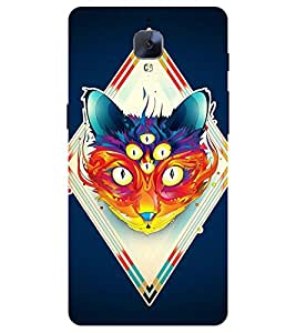 Chiraiyaa Designer Printed Premium Back Cover Case for One Plus 3 (cat painting) (Multicolor)