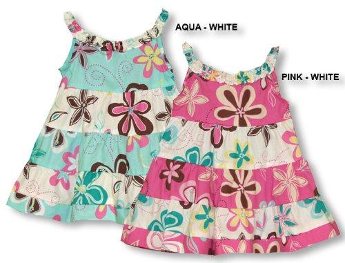 Tiered Flare Skirt - (Angel) Play School Floral Girl's Hawaiian Aloha Bias Cut Sun Dress in Aqua/White - 24 Months