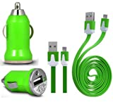 Wayzon Green Vehical Travel iN Car Charger Adapter In Bullet Shape With Flat 2.0 Micro USB Sync Data Cable Lead Suitable For BlackBerry Curve 9220 / 9320 / 9350 / 9360 / 9370 / 9380