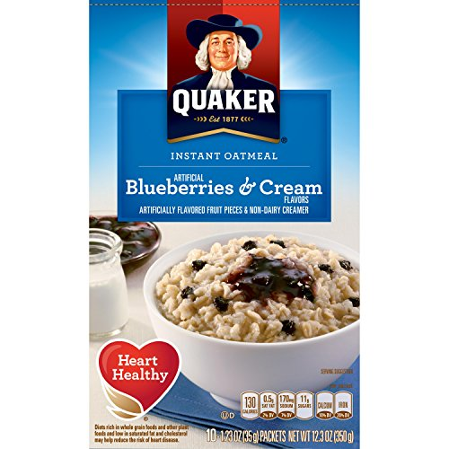 Quaker Instant Oatmeal Breakfast Cereal, Blueberries and Cream, 10 Packets (1 Box) (Oatmeal Cream compare prices)