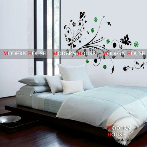 Frame with Green Flowers removable Vinyl Mural Art Wall Sticker Decal